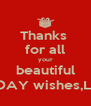 Thanks  for all your beautiful BIRTHDAY wishes,LATIFA - Personalised Poster A4 size