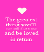 The greatest  thing you'll  ever learn is just to love  and be loved in return. - Personalised Poster A4 size