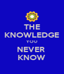 THE KNOWLEDGE YOU NEVER  KNOW - Personalised Poster A4 size