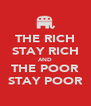 THE RICH STAY RICH AND THE POOR STAY POOR - Personalised Poster A4 size
