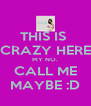 THIS IS  CRAZY HERE MY NO. CALL ME MAYBE :D - Personalised Poster A4 size