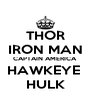 THOR IRON MAN CAPTAIN AMERICA HAWKEYE  HULK - Personalised Poster A4 size
