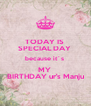 TODAY IS  SPECIAL DAY  because it´s  MY  BIRTHDAY ur's Manju - Personalised Poster A4 size