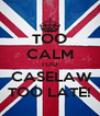 TOO CALM TOO  CASELAW TOO LATE! - Personalised Poster A4 size