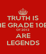 TRUTH IS THE GRADE 10B's Of 2012 ARE LEGENDS - Personalised Poster A4 size