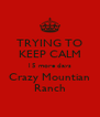 TRYING TO KEEP CALM 15 more days Crazy Mountian Ranch - Personalised Poster A4 size