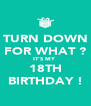 TURN DOWN FOR WHAT ? IT'S MY  18TH BIRTHDAY ! - Personalised Poster A4 size