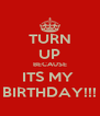TURN UP BECAUSE ITS MY  BIRTHDAY!!! - Personalised Poster A4 size