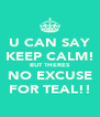 U CAN SAY KEEP CALM! BUT THERES NO EXCUSE FOR TEAL!! - Personalised Poster A4 size