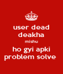 user dead deakha mishu ho gyi apki problem solve  - Personalised Poster A4 size