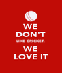 WE DON'T LIKE CRICKET, WE LOVE IT - Personalised Poster A4 size