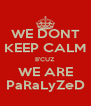 WE DONT KEEP CALM B'CUZ WE ARE PaRaLyZeD - Personalised Poster A4 size