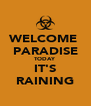WELCOME  PARADISE TODAY IT'S RAINING - Personalised Poster A4 size