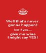 Well that's never gonna happen! but if you.... give me wine I might say YES! - Personalised Poster A4 size