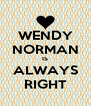 WENDY NORMAN IS ALWAYS RIGHT - Personalised Poster A4 size
