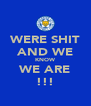 WERE SHIT AND WE KNOW WE ARE !!! - Personalised Poster A4 size