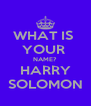 WHAT IS  YOUR  NAME? HARRY SOLOMON - Personalised Poster A4 size