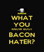WHAT YOU KNOW BOUT BACON HATER? - Personalised Poster A4 size