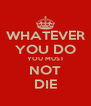 WHATEVER YOU DO YOU MUST NOT DIE - Personalised Poster A4 size