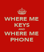 WHERE ME KEYS AND WHERE ME PHONE - Personalised Poster A4 size