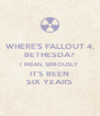 WHERE'S FALLOUT 4, BETHESDA? I MEAN, SERIOUSLY IT'S BEEN SIX YEARS - Personalised Poster A4 size
