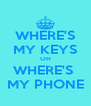 WHERE'S MY KEYS OH WHERE'S  MY PHONE - Personalised Poster A4 size
