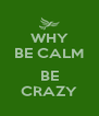 WHY BE CALM  BE CRAZY - Personalised Poster A4 size