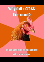 why did i cross the road? because someone chased me with a deep-fryer - Personalised Poster A4 size