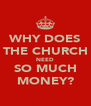 WHY DOES THE CHURCH NEED SO MUCH MONEY? - Personalised Poster A4 size