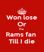 Won lose Or Tie  Rams fan  Till I die - Personalised Poster A4 size