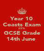 Year 10 Coasts Exam 25% GCSE Grade 14th June  - Personalised Poster A4 size