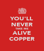 YOU'LL NEVER TAKE ME ALIVE COPPER - Personalised Poster A4 size