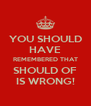 YOU SHOULD HAVE REMEMBERED THAT SHOULD OF IS WRONG! - Personalised Poster A4 size