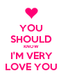 YOU SHOULD KNOW I'M VERY LOVE YOU - Personalised Poster A4 size