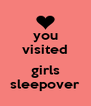 you visited  girls sleepover - Personalised Poster A4 size