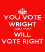 YOU VOTE WRIGHT AND YOU WILL VOTE RIGHT - Personalised Poster A4 size