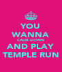 YOU WANNA CALM DOWN AND PLAY TEMPLE RUN - Personalised Poster A4 size