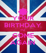 YOUR BIRTHDAY TO COME AGAIN - Personalised Poster A4 size