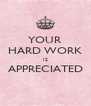 YOUR HARD WORK IS APPRECIATED  - Personalised Poster A4 size