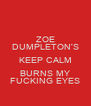 ZOE DUMPLETON'S KEEP CALM BURNS MY FUCKING EYES - Personalised Poster A4 size