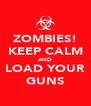 ZOMBIES! KEEP CALM AND LOAD YOUR GUNS - Personalised Poster A4 size