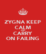 ZYGNA KEEP CALM AND CARRY ON FAILING - Personalised Poster A4 size