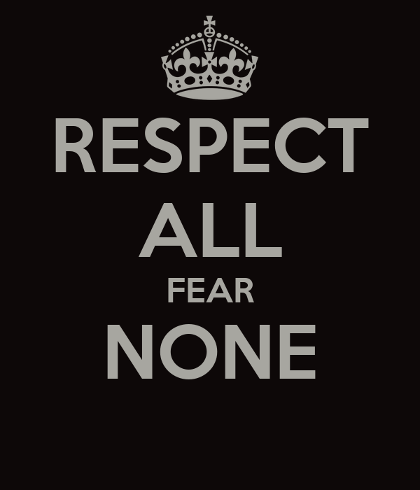 Respect All Fear None Poster Tim Whitty Keep Calm O Matic