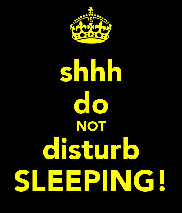 shhh do not disturb sleeping poster bubba keep calmo