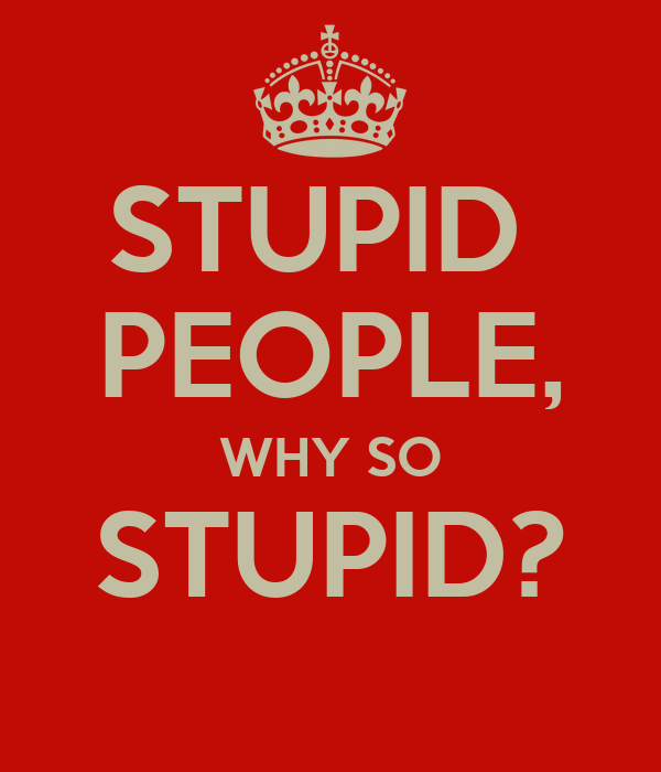 STUPID PEOPLE, WHY SO STUPID? - KEEP CALM AND CARRY ON Image Generator: keepcalm-o-matic.co.uk/p/stupid-people-why-so-stupid-1
