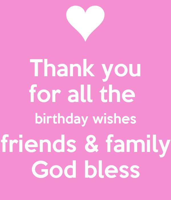 Thank You For All The Birthday Wishes Friends & Family God