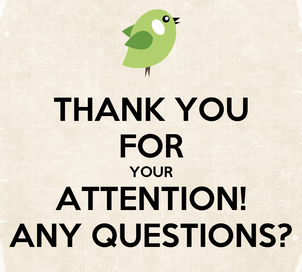 THANK YOU FOR YOUR ATTENTION  ANY QUESTIONS Thank You For Your Attention Animation