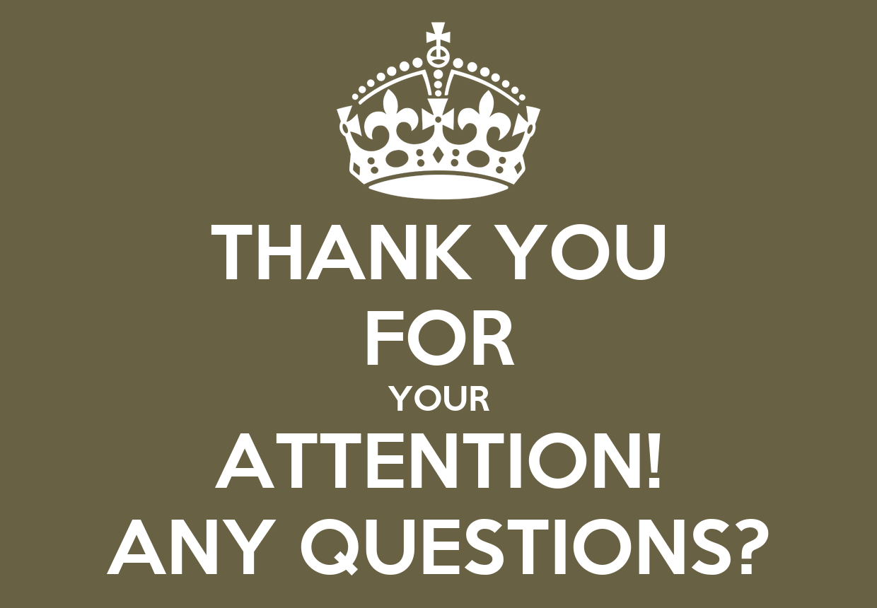 THANK YOU FOR YOUR ATTENTION! ANY QUESTIONS? Poster : Annelies : Keep ...