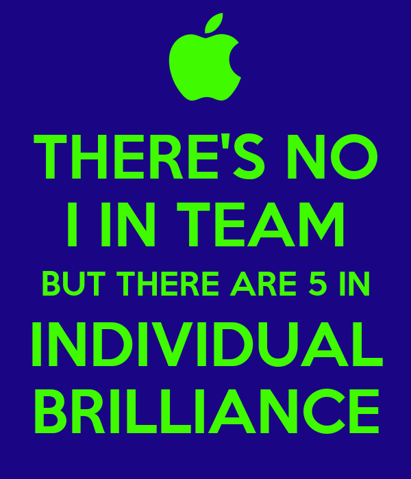 Motivational Quotes For Sports Teams: THERE'S NO I IN TEAM BUT THERE ARE 5 IN INDIVIDUAL