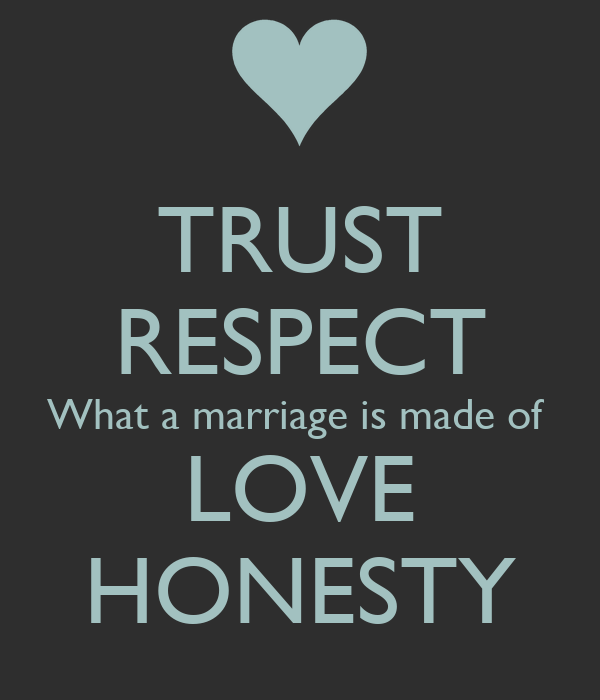 TRUST RESPECT What a marriage is made of LOVE HONESTY